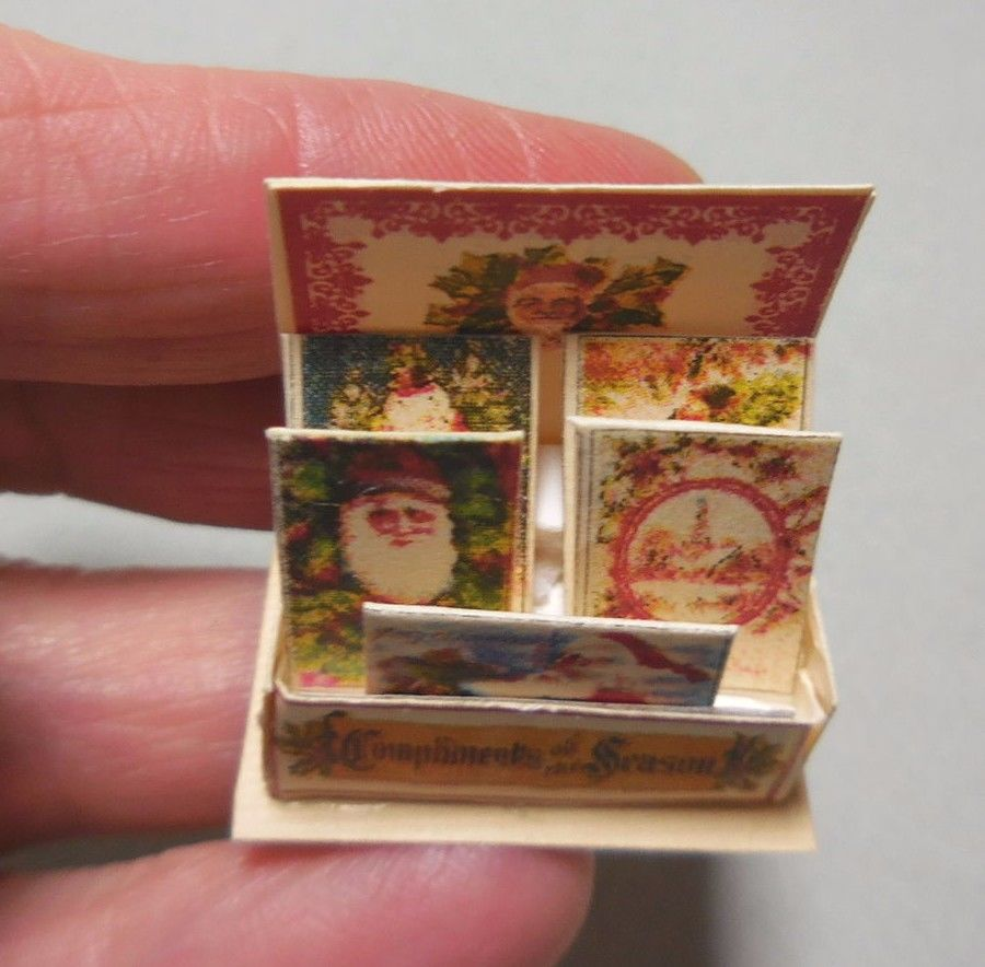 DOLLHOUSE MINIATURE ~ CHRISTMAS ~ VINTAGE GREETING CARDS ~ COUNTER DISPLAY