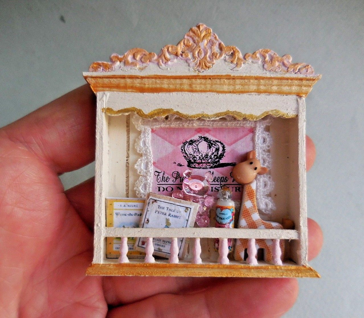 BABY'S NURSERY SHELF ~ PINK & GOLD