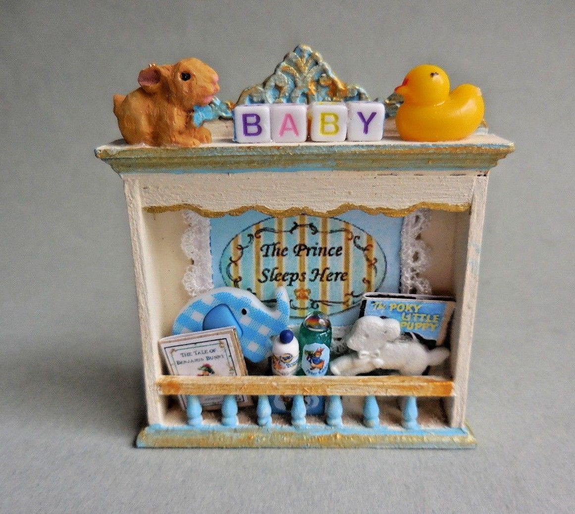 BABY'S NURSERY SHELF ~ BLUE & GOLD