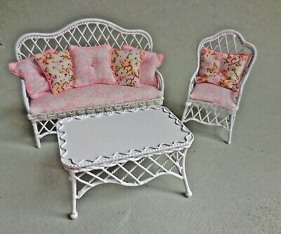 FANCY WHITE WIRE SOFA , CHAIR & TABLE