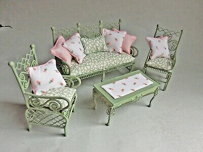 SAGE GREEN 'WICKER' WIRE SOFA , CHAIRS & TABLE