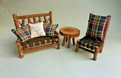 BLUE PLAID CEDAR LOG  SOFA SET