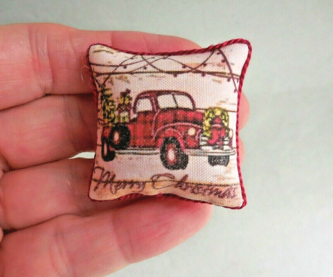 RED PICKUP TRUCK PILLOW