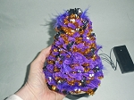 PURPLE & GOLD SPOOKY EYE HALLOWEEN TREE ~ LIGHTED ~ HANDMADE