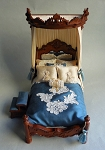 BLUE SILK TESTER BED